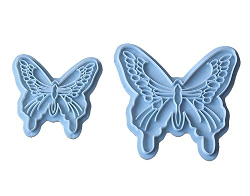 Butterfly Cake Decorating (Joinor 2 Pcs Butterfly Cake Mold Sugarcraft Fondant Cookie Plunger Cutters Decorating Kit Random Color)