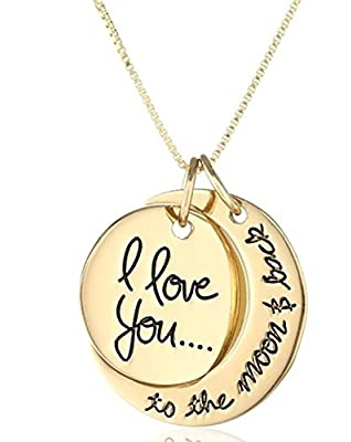 """Tricess Mother's Day Gift """"I Love You To The Moon and Back"""" Two-Piece Pendant Necklace"""