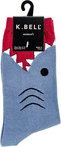 K. Bell Women's Shark Novelty Crew Socks, Slate, Shoe Size: 4-10