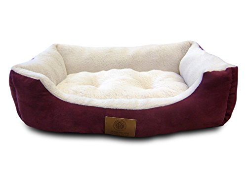 American Kennel Club AKC-6320 Burgundy Suede Cuddler Solid Pet Bed, Large, Burgundy