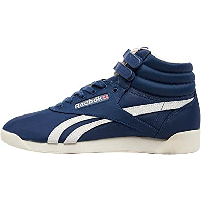 7cca631785dbb9 Reebok Womens Freestyle Hi Vintage Inspired Trainers Blue Sandtrap Chalk   Amazon.co.uk  Shoes   Bags