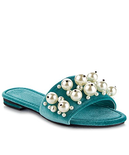 CAPE ROBBIN Womens Open Toe Pearl Embellished Slide Sandals Aqua eaO22szDu
