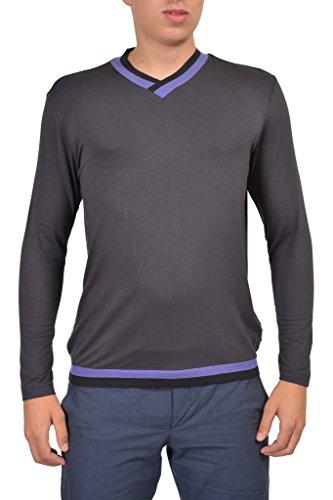 (Armani Collezioni Gray V-Neck Men's Sweater US XL IT)