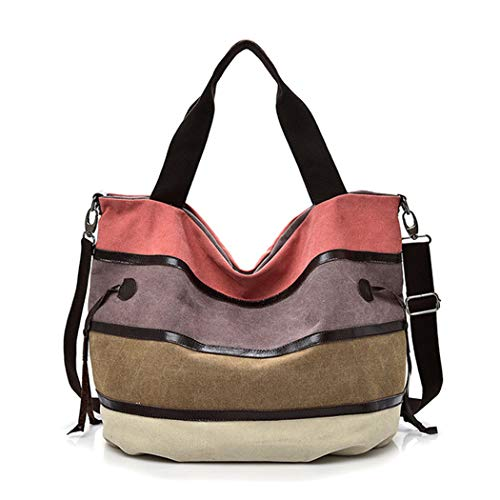 - Raylans Women's Canvas Hobo Bag Striped Colorblock Tote Handbag Shopping Shoulder Bag Pink