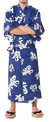 Tokyoin Traditional Made in Japan Cotton Yukata Robe (Japanese Pajama Kimono) Easy Wearing Unisex Design OBI Yukata set2 Blue & Happy Mean Kanji 58 Large ()