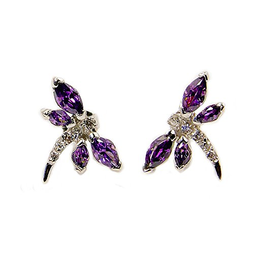 The Silver Plaza Sterling Silver Purple Cubic Zirconia Dragonfly Stud Earrings