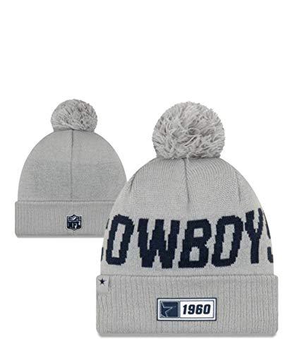 New Ea Knit Hat NFL Dallas Cowboys Sideline Sport Knit Winter Beanie Pom Hat Cap (Dallas New Era Beanie)