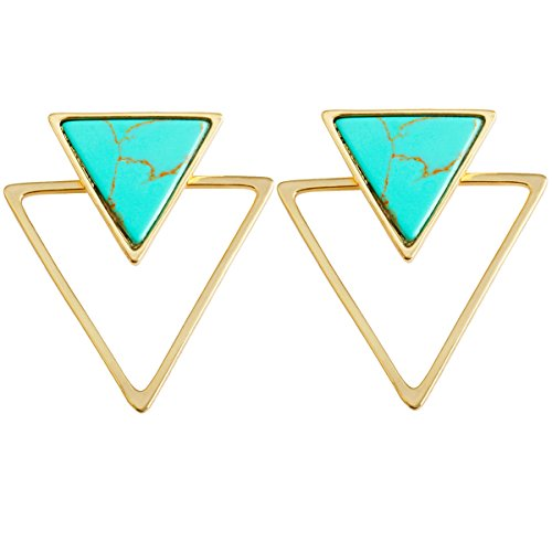 SUNYIK Green Howlite Turquoise Triangle Stud Earrings,Ear Jacket,for Women from SUNYIK