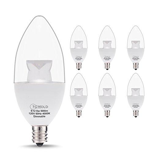 TGMOLD Candelabra LED Bulb, Dimmable 60W Equivalent, Daylight 4000K LED Light Bulbs Candelabra Base E12, Decorative Candles 500lm, 120 Degree Beam Angles, Chandelier Light Bulbs With Home Lamps-6 - Candelabra Light 6 Chandelier
