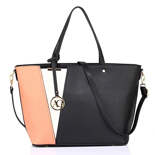 LeahWard Large Size Shoulder Bags For Women Fashion Ladies Shopper Bag Designer Tote Handbag A4 0532 (Black/White/Nude (Just Fab Purses)