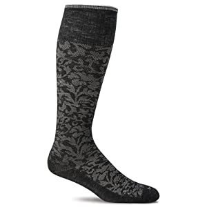 Sockwell Women's Damask Socks, Black, Medium/Large