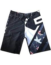 Pantalones Cortos de Playa, Pantalones Cortos de Surf Hawaianos Ocasionales, Pantalones Cortos de Verano para Hombres, Good dress, Negro, 32
