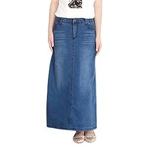 Women's Casual Stretch Waist Washed Denim A-line Maxi Skirt