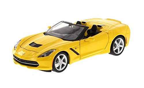 NEW 1:24 DISPLAY MAISTO COLLECTION - YELLOW 2014 CHEVY CORVETTE C7 CONVERTIBLE Diecast Model Car By Maisto