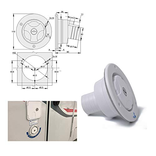 BEESCLOVER White Round Gravity City Water Inlet Fill Dish Hatch Lock for RV Trailer Camper White A1235 by BEESCLOVER (Image #8)