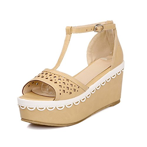 Wedge WeenFashion Solid M Apricot US 5 Material Buckle Soft PU Heel Platform Kitten Womens Open Toe Sandals with B TFnwvrqfYF