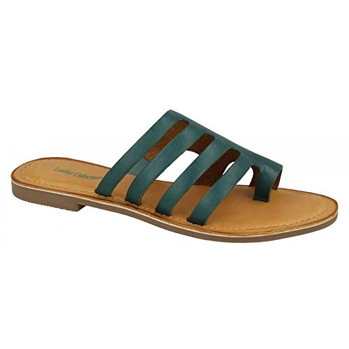 Leather Womens Sandals Collection Leather Flat Strappy Ladies Green qvUTwRq