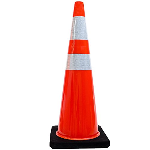 36'' RK Orange Safety PVC Traffic Cone, Black Base with Two Reflective Collars, Set of 6 by RK Safety