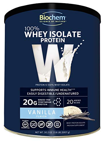 Bio Protein Bar - Biochem 100% Whey Protein Vanilla 1.8 Lb, Immune Health & Muscle Support Protein Powder