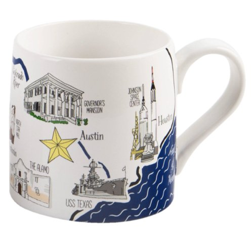 Texas Coffee Mug, graphics of iconic Texas shapes. Features Texas cities and historic sites (22 OZ.) -