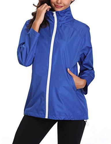 Women's Lightweight Casual Jackets Waterproof Packable Bomber Rain Jacket Softshell Casual Sportswear Blue XXL (Casual Sportswear)