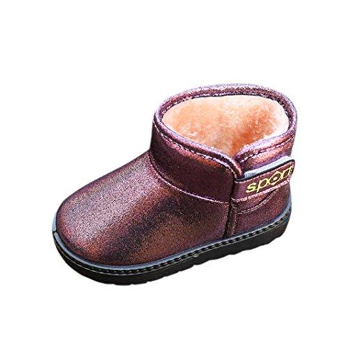 OverDose Mode Jungen Mädchen Rutschfeste Martin Stiefel Outdoor Warm Martin Sneaker Winter Dick Schnee Stiefel Freizeit Winter Schuhe A-Purple