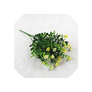 Artificial Flowers Outdoor Plant Shrubs Boxwood Plastic Leaves Fake Bushes Greenery Window Home Yard Garden Wedding Decor,Yellow 38