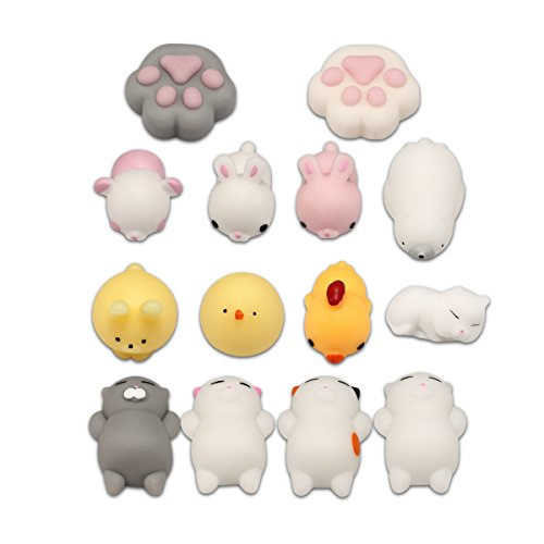 Mochi Animal Squishes, Mini Kawaii Stress Relief Fidget Toys For Children and Adults (14PCs Set) (Stuffed Miniature Toys)