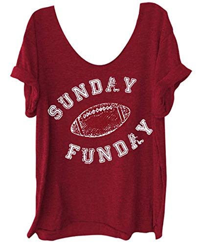 Women's Sunday Funday Football Funny Shirt Off Shoulder Graphic Tees Casual Loose Tops (XX-Large, Red)