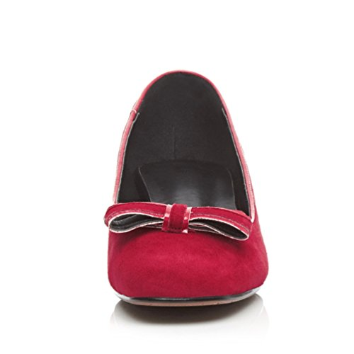 Minivog Square Toe Mujeres Block Low Heel Pump Zapatos Rojo