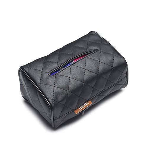 Seat Box (Car Tissue Box Universal Sun Visor/Seat Hanging Tissue Holder Napkins Box Cover (Tissue Box - Black))