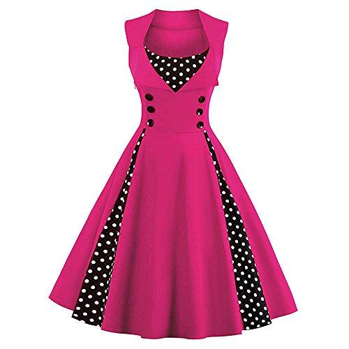 MISSJOY Women's 1950s Vintage Retro Plus Size Polka Dot Swing Cocktail Party Dress Rose
