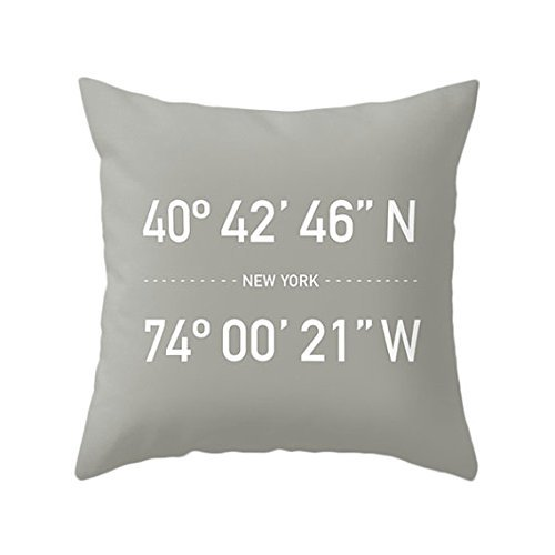 New York Coordinates Pillow Cover, Gray Throw Pillow Cover, Neutral Scandinavian Home, NY Urban Decor, Souvenir Gift, Typographic Modern Cushion Cover, - List Needs Camping