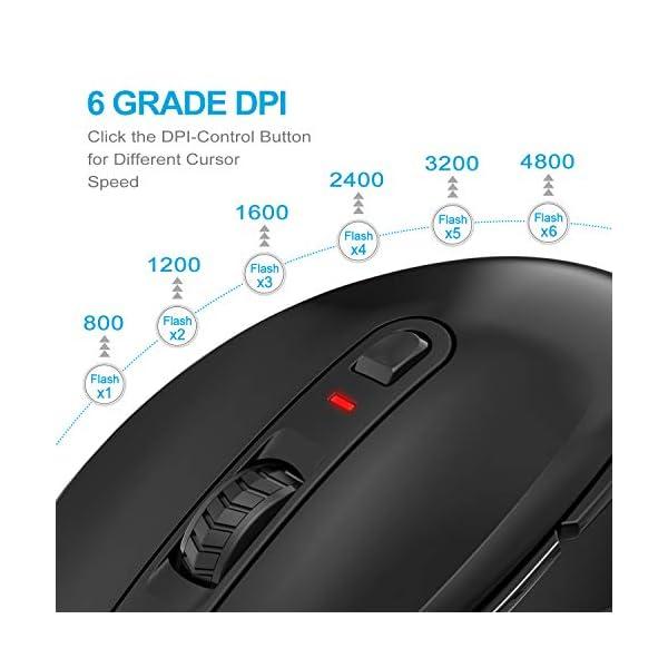TECKNET Souris sans Fil Optique 4800 DPI 2.4G, Wireless Mouse avec 6 Boutons, Nano Récepteur USB pour Gamer, Ordinateur…