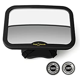 ROYAL RASCALS Baby Car Mirror for Back Seat – Black Frame – Safest Shatterproof Baby Mirror for Car – Rear View Baby Car Seat Mirror to See Rear Facing Infants and Babies
