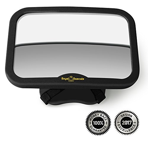 - ROYAL RASCALS Baby Car Mirror for Back Seat - Free Baby on Board Sign - Shatterproof Baby Mirror for Car - Rear View Baby Car Seat Mirror to See Rear Facing Infants and Babies