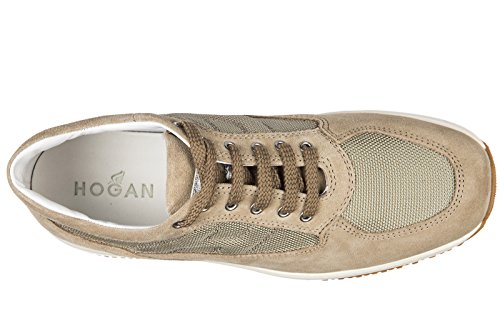 Hogan chaussures baskets sneakers enfant garçon en daim neuves interactive beige