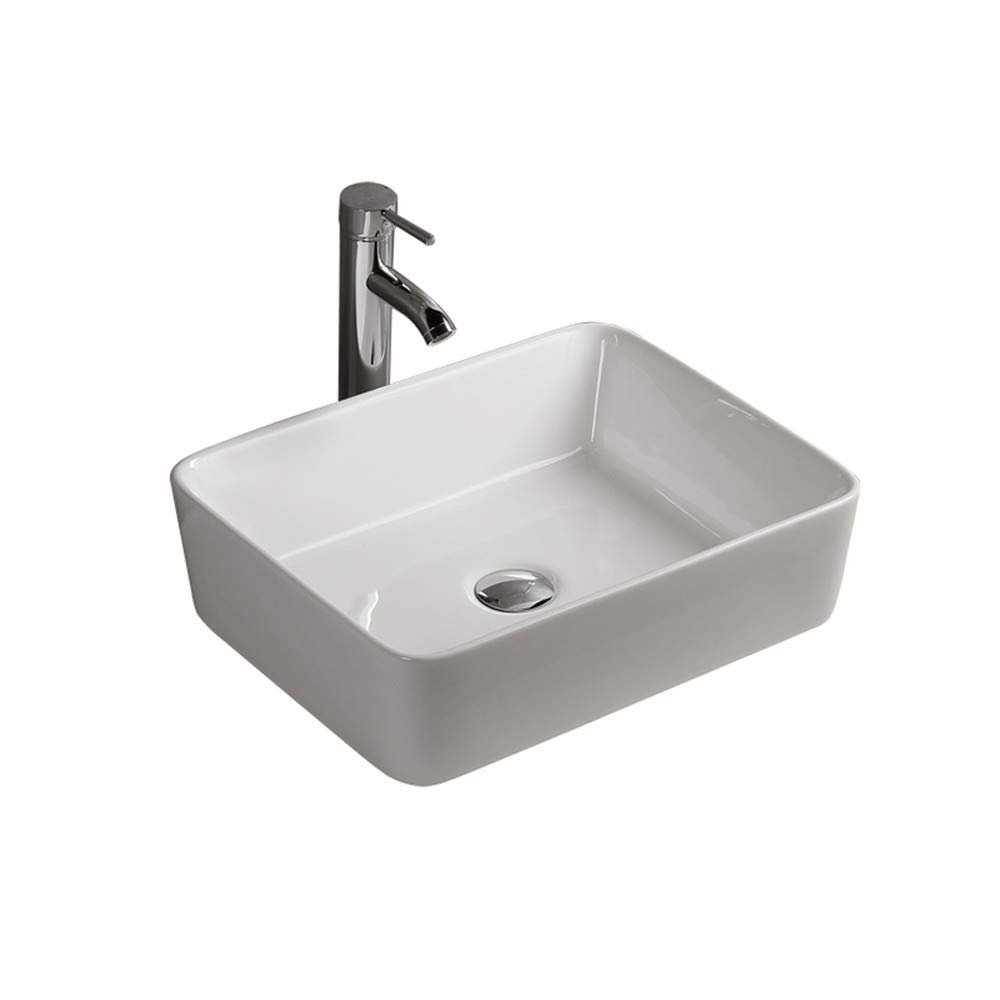 Gimify Ceramic Vessel Wash Basin Sink Contemporary Counter Top Mounted for Cloakroom Bathroom (33x40x14.5cm) XSP01
