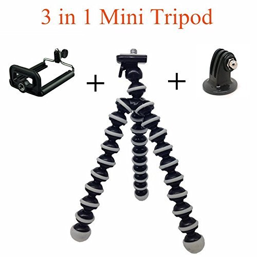 Universal 3in1 Adjustable Mini Flexible Portable Octopus Gorillapod Tripod Stick Stand Holder Bracket Monopod Mount Adapter Clip for for Gopro Cellphone iPhone Small Cameras