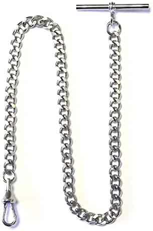 Dueber Silver Tone Chrome Plated Steel Deluxe Albert Pocket Watch Vest Chain