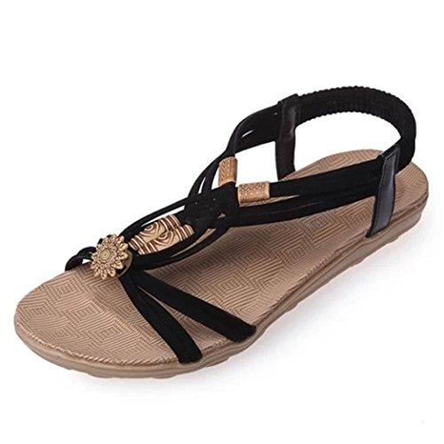 de Fashion Noir sandales femmes Transer ® Bohême fTI11