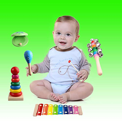 Kids Musical Instruments - Childom Musical Instruments Wood Xylophone for Kids Children, Child Wooden Music Shakers Percussion Instruments Tambourine Birthday Gifts Present with Carrying Bag by Childom (Image #1)