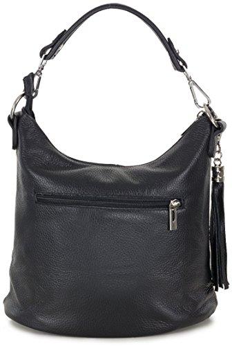 Kleine Handtasche Umhängetasche Echt Leder Tasche schwarz für Damen von Taschenloft (31 x 25 x 17 cm) Schwarz