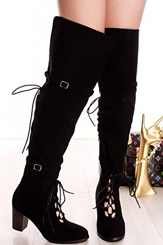 Lolli Couture Suede Belt Accent Zipper Lace Diseño Sobre Las Botas De Rodilla Black-kendall