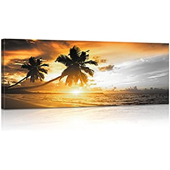amazon com picture sensations framed huge 3 panel palm tree sunset