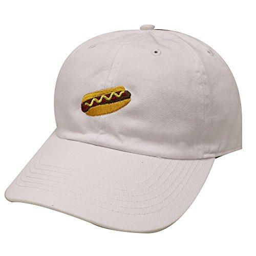 City Hunter C104 Hotdog Cotton Baseball Dad Caps 14 Colors (White)]()