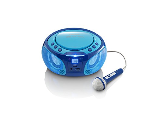 Lenco SCD-650 Kinder CD-Player mit Mikrofon, Karaoke-Funktion und Licht-Effekten (CD / MP3, USB, AUX, LCD-Display, UKW Radio), blau