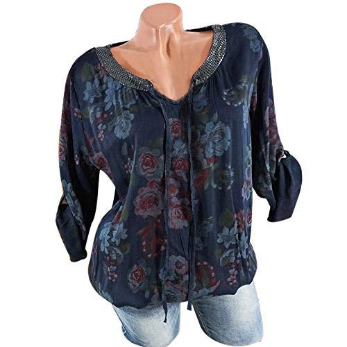 Taille Casual Longues Chic Plus Simple Pull Manches Lache Femmes Manches Shirt Chemise Tops Mode Fonc Sweat V Florale Bleu Longues Tops La Chemise Col Femme w14Yqfa