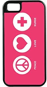 Rikki KnightTM Peace Love Nurse Tropical Pink Color Black Tough-It Case Cover for iPhone5 & 5s (Double Layer case with Silicone Protection)