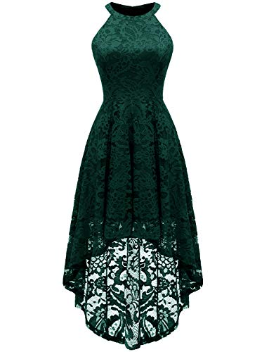 Dressystar 0028 Halter Floral Lace Cocktail Party Dress Hi-Lo Bridesmaid Dress S Green